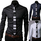 NWT Mens Casual Slim fit Luxury Stylish Formal Dress Shirts Tops FREE SHIPPING