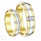 9ct Two Colour Diamond Wedding Rings Yellow & White Gold His & Hers 5 & 6mm