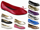 New Girls Ladies Womens Flat Patent Bow and Plain Ballet Pumps Casual Shoes 3-8