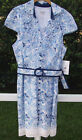 OLEG CASSINI BLUE MULTI COTTON FLORAL CAP SLEEVE KNEE WORK SUNDRESS 12 14 NEW