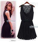 Women Celeb Style Sleeveless Lace Party Cocktail Sexy Mini Dress Black Size S M