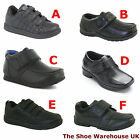 Boys Black Velcro Shoes, School / Formal Shoes, Various Styles From Sizes 4 to 6