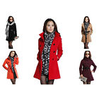 Women's Double-Breasted Wool Coat Lady Warm Winter Jacket Trench Slim Fit N218