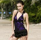 Women Sexy Bud Silk One-piece Swimsuit Swimdress Swimwear Covering Belly