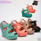 Women's Sexy & Cute Peep Toe Laces Up Tie Wedge Booties Dress Sandle Shoes
