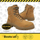 Oliver At's Men's Work Safety Boots Wheat Steel Toe Lace Up ZIP AU Size 55332Z