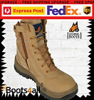 MONGREL Work Boots ZIP SIDE Wheat Steel Toe Lace-Up Ankle Support New 251050