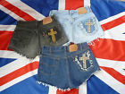 Vintage High Waisted LEVIS shorts/hotpants SHREDDED pocket STUDDED cross