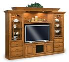 Amish TV Entertainment Center Solid Oak Wood Media Wall Unit Cabinet Storage New