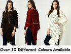 New Ladies Knitted Ruffle Womens Poncho Jumper Cape 8 10 12 14 16 18 UK