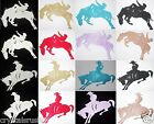 FABRIC GLITTER RODEO HORSE COWBOY A B IRON-ON DIY CRAFT TSHIRT TRANSFER PATCH