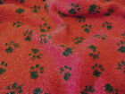 Faux Fur SHERPA FLEECE Sheepskin Fabric Material - RED PAWS