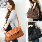 Hot in 3color Ladies woven PU leather Hobo Shoulder Tote Handbag Shopper vintage