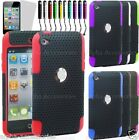 New Hard Mesh Net Perforated Silicone Skin Case Cover For Apple iPod Touch 4 -UK