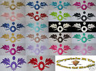 FABRIC SATIN GLITTER FLOWER LEAF IRON-ON DIY TSHIRT TRANSFER APPLIQUE PATCH