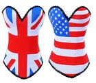 UK US FLAG printed v neck corset hook up basque punk party top