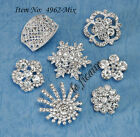 U PICK~ Crystal Rhinestone Shank Button Brooch Buckle Charm Bridal Wedding #4962