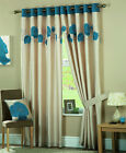 DESIGNER CURTAINS TEAL BLUE & CREAM  LINED EYELET RING TOP.NEXT DAY DELIVERY
