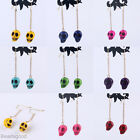 Turquoise Skull Head Evil Dangle Earrings Ear Eardrop Long Chain Pick Color Gift