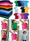 Fruit of the Loom Kids T-Shirt Blank Plain Top School PE Uniform Girls Fit Crew