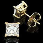 2 pairs18k GOLD GP Lady Man Cubic Zirconia Square CZ stud Earring