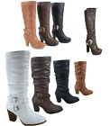 Women's Buckle Zip Chunky High Heel Mid Calf Knee High Boots Shoes 5 - 10 NEW