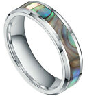 6mm Inlay Abalone Shell Tungsten Carbide Ring Comfort Fit Gift US SIZE 4.5-14