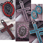2pcs red amethyst crystal pave cross pendant MARY connector fit rosary necklace