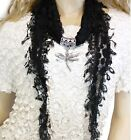 Black Sunflower Lace JEWELRY SCARF with YOUR CHOICE of 3 Pendant Charms