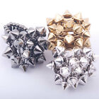 clear crystal pave silver gold gunmetal tone spike rivet stretch finger ring