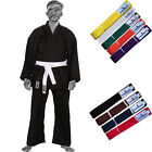 TurnerMAX Karate Suit Kung FU Martial Arts Uniform Black with Color Belts