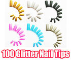 100 Tips Glitter Color French Nail Tips Acrylic UV Gel Manicure with Box