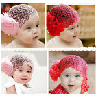 NEWBORN BABY TODDLER GIRL HEADBAND HAT BEANIE FLOWER Hair BAND LACE ELASTIC J175