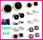 3 pairs Cosmo's Cufflink for Men and Lady Great Gift for Wedding Cufflinks