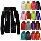 New Womens Ladies Girls Jacket Hoodie Top Zip Fleece Hooded Size S M L XL XXL