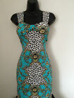 New Womens Bodycon Blue Baroque Stretch Party Dress Wiggle Shift 8 10 12 14 16