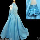 C2 NEW BABY GIRL GLITZ PAGEANT FLOWER GIRL FORMAL PARTY LONG DRESS AQUA 7 - 14