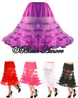 BLACK PETTICOAT RETRO 25'' UNDERSKIRT 50 SKIRT TUTU VINTAGE ROCKABILLY 5 COLOURS