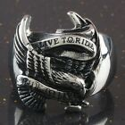 Heavy Stainless Steel LIVE TO RIDE Eagle Hawk Bird Animal Man Men's Finger Ring