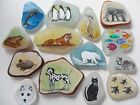 Animal miniature paintings - Sea glass, pottery - Hand painted original art OOAK