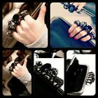 SKULL KNUCKLE DUSTER RING CLUTCH EVENING HANDBAG PURSE WALLET CHAIN SHOULDER BAG