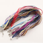 Mix-Color Silk Organza Voile Ribbon Cord DIY Necklaces Adjustable Lobster Clasp