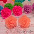 LARGE VINTAGE CARVED 22mm ROSE EARRINGS WEDDING FAVOUR BRIDE BRIDESMAID PROM UK