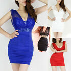 New Lady Sexy Sequin Empire Waist Sleeveless See-through Mesh Party Dress 4Color