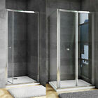 Aica Bi Fold Shower Door Enclosure Glass Screen Panel Stone Tray Waste Riser Kit