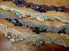 "9"" Hand Sewn EDGING Sequins Beads Strip Dolls Headband 1pc"