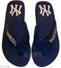 New York Yankees MLB Sequin Ladies Flip Flops Women's Slippers Shoes Navy Blue