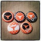 "5 Texas Longhorns Polka dot 1"" Button Embellishments for bows and other crafts"
