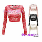 NEW LADIES FLORAL PAISLEY LACE MESH CROPPED LONG SLEEVE BRA DRESS TOP SIZES 8-14