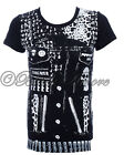 BLACK T-SHIRT ROCK SKULL SKINNY METAL JACKET PUNK GOTH DARK NEW JAWBREAKER LDS